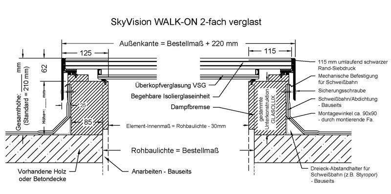 technische Zeichnung SkyVision WALK-ON 2-fach verglast