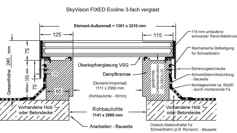 technische Zeichnung SkyVision FIXED 3-fach verglast 1111 x 2960